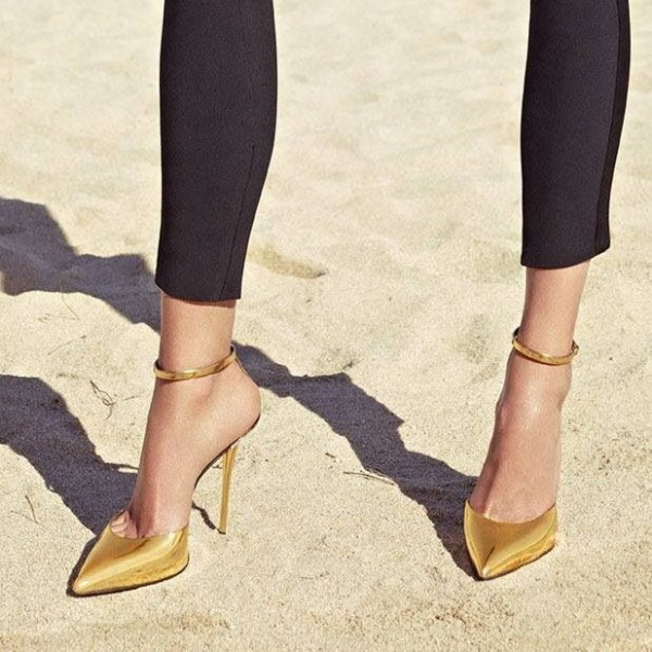 gold_chic_pointy_toe_stiletto_heels_mirror_leather_ankle_strap_pumps