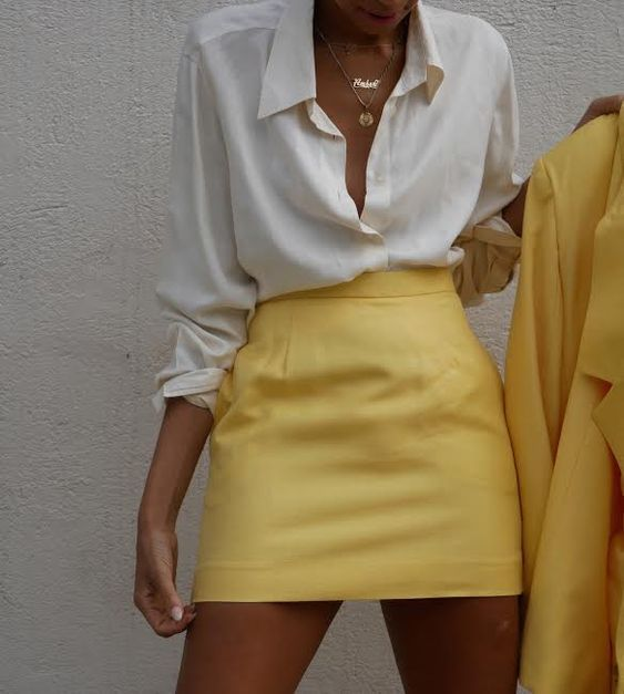 Pleather Yellow Skirt